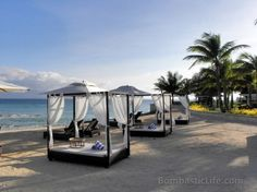 Daybeds along the beach at Misibis Bay Resort. Resorts In Philippines, Daybeds, Outdoor Furniture, Outdoor Decor, Beaches, Places To Go, Beautiful Places, Travel, Home