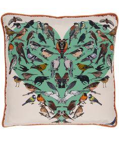 Bounteous Birds Silk Cushion, Silken Favours #lifeinstyle #greenwithenvy