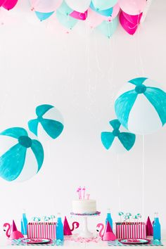 flamingo fun and some diy beach ball balloons!