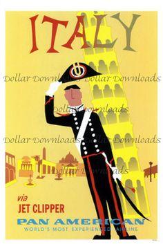 Italy Vintage Pan Am Jet Clipper Travel Poster Digital Image Download by DollarDownloads, $1.50