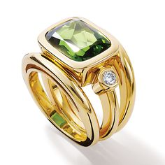 'Aeneus Roman' yellow gold ring set with green tourmaline and diamonds