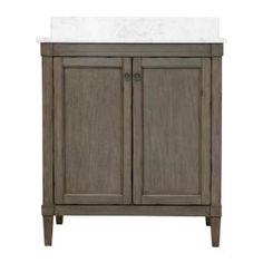 Home Decorators Collection Rosecliff 31 in. W x 22 in. D Vanity in Distressed Grey with Marble Vanity Top in Carrara White with White Sink - The Home Depot Quartz Vanity Tops, Granite Vanity Tops, Marble Vanity Tops, White Sink, White Vanity, Bathroom Sink Vanity, Small Bathroom, Basement Bathroom, Bathroom Ideas