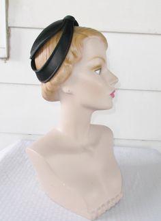 1950s Vintage Black Satin Cocktail Hat from by MyVintageHatShop
