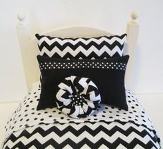 American Girl Doll Bedding Black and White Chevron by BosBoutique, $26.00