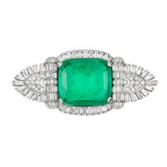 Art Deco Platinum, Emerald and Diamond Brooch