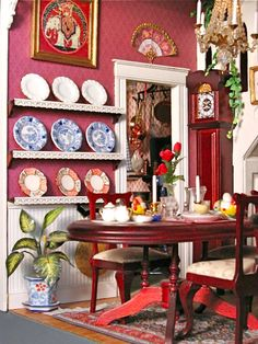 victorian+dollhouses | 12 Scale Victorian Dollhouse Miniatures: Kitchen and Dining Room, Pt ...