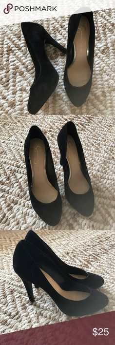 """Jessica Simpson Black Suede Pumps Classic rounded toe Jessica Simpson pumps with black suede-like fabric.  Heel is approximately 4.5"""".  These are size 8.5 but I found them to be a little loose on my heel, but some shoes pads would adjust the fit.  I only wore a couple of times. Jessica Simpson Shoes Heels"""