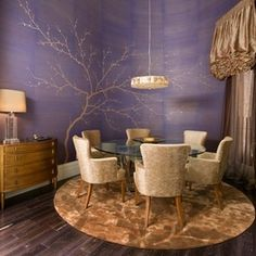 Dining room idea for stairway. Paint gold metallic tree over teal or mint green base coat. Like the idea of water color looking blend of greens. Darker at the lower part of rooms & blended lighter toward top of room/stairway.