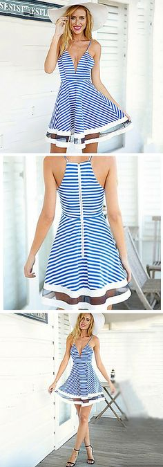 Spaghetti strap deep V-neck stripe fit and flare sheer mesh hem dress. This sundress is sexy and cute! It's a great choice for summer date nights. Super affordable, super stylish!