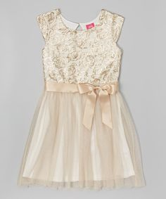 6a9f00309a Zunie   Pinky Champagne Sequin Tulle Dress - Girls
