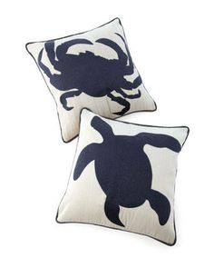 """Love these pillows """"Crab Beach"""" and """"Turtle Beach"""" by Palecek. See Elle Decor's Trend Alert: Under the Sea"""