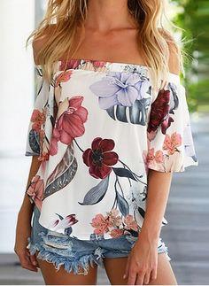 Floral Casuales Chifón Escote barco Manga corta Camisas