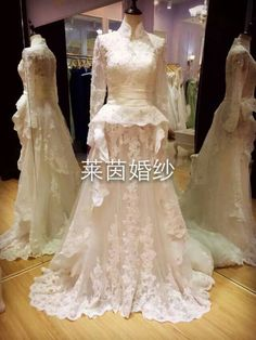 Rustic highcollar long sleeves lace wedding gown