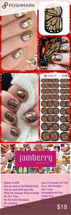"Retired JAMBERRY Gold Butterfly Manicure Nail Wrap This is a Retired Design- No Longer Available on the Jamberry Site! ❤️❤️ 1 Full Sheet of Jamberry Vinyl Nail Wraps in the style ""Butterfly Effect"" - a beautiful butterfly wing design in black and gold. Metallic Finish. Regular/ Adult size. Enough for up to 2 manicures + 2 pedicures + many accent nails. PRICE FIRM unless bundled. Need other colors? Please visit my Posh closet! ❤️❤️.          **Bundle 2 or More Items and Save 15% Off…"