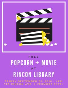 Come see an animated film about an ambitious bunny and a sly fox who must work together to try to solve a mystery. The movie is rated PG, and it has been reviewed as being most appropriate for ages 8 and up. Free popcorn will be served. Rincon Library, 725 Rincon Avenue, Livermore, CA, 94551