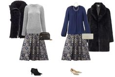 Christmas capsule wardrobe - the luxury version, skirt 2 ways with a silk blouse and cashmere sweater