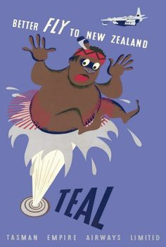 'Teal - better Fly To New Zealand' - Wonderful Glossy Art Print Taken From A Rare Vintage Travel Poster Fly To New Zealand, Air New Zealand, Vintage Signs, Vintage Ads, Vintage Airline, Nz Art, Vintage Travel Posters, Poster Vintage, Poster Prints