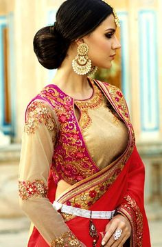 Buy latest 2017 saree blouse designs and patterns online. Fashionable ready made sari blouses for women Shopping from Indiabazaaronline. Saree Blouse Neck Designs, Saree Blouse Patterns, Designer Blouse Patterns, Fancy Blouse Designs, Bridal Blouse Designs, Kurta Designs, Stylish Blouse Design, Indian Designer Outfits, Blouse Styles