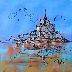 Tableau Design - Mont Saint Michel- peintures-axelle-bosler : Peintures par peintures-axelle-bosler