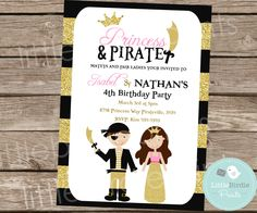 PRINCESS AND PIRATE Invitation for Birthday party Gold and Pink Princess Invitation Glitter Pirate Invitation Dual Boy and Girl Printable by littlebirdieprints on Etsy https://www.etsy.com/listing/221743404/princess-and-pirate-invitation-for