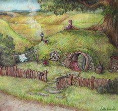 "Hobbit Hole:     ""In a hole in the ground there lived a hobbit. Not a nasty, dirty, wet hole, filled with the end of worms and an oozy smell, nor yet a dry, bare, sandy hole with nothing to sit down on or eat: it was a hobbit-hole, and that means comfort."""