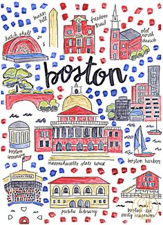 Boston Map Print by EvelynHenson on Etsy