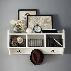 Crosley Fremont Entryway Shelf In Distressed White - The Crosley Fremont Entryway Wall Shelf adds a stylish decorative accent to your wall. With 3 hooks, 3 cubbies, and a top surface, this shelf is perfect for holding your coats, hats, scarves, keys and more. Entryway Shelf, Entryway Decor, Entryway Wall Organizer, Wall Shelves, Shelving, Wall Shelf With Hooks, Space Furniture, Diy Furniture, Storage Baskets