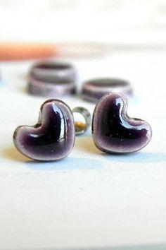 Royal Purple Heart Post Earrings Tiny Ceramic Studs by Ceraminic
