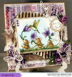 Birthday card in purple colours using a House Mouse Stamp. http://nataschas-blog.blogspot.de/2016/03/stempel-magie-125.html