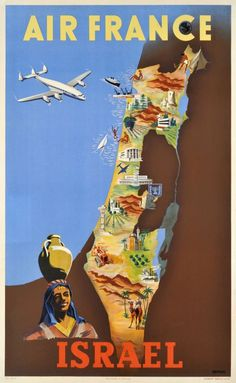 Air France Israel by Renluc 1949 France - Vintage Poster Reproduction. This French travel poster features a map with pictural markers, a woman with a jug on her head and a plane flying over the water. Air France, Old Posters, Vintage Travel Posters, Vintage Airline, Pub Vintage, Vintage Art, Vintage Cuba, Poster Ads, Advertising Poster