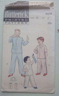 Vintage 1950s sewing pattern Butterick 6429 Boy s pyjamas uncut size 2