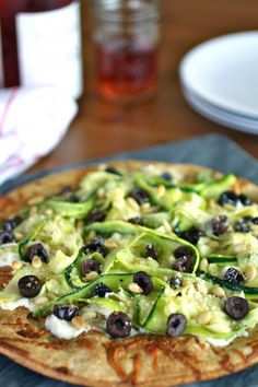 Zucchini Ribbon and Ricotta Pizza - Light and fresh taste! So good!