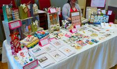 My first craft stall!  I covered shoe boxes in upcycled paper to make 'shelves' for my gift bags.