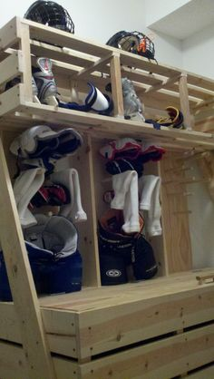 NHL hockey locker made from palletes More