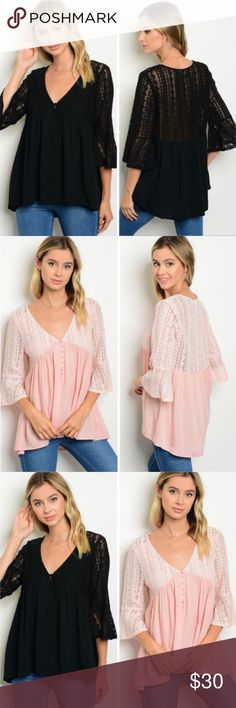 🔜 Ruffle Sleeve V-Neck Babydoll Top This adorable ruffle sleeve v-neck babydoll top is perfect for the upcoming months of transitioning from summer to fall, and is made of 100% rayon for that flow, comfortable feel.  Can be reserved upon request.  Expected to be available within the next few days. Threadzwear Tops