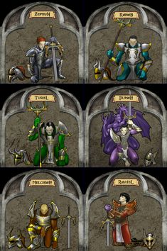 The six murals of the sarafan inquisitors within the sarafan stronghold. These warriors Kain would ultimately raise to create his lieutenants.
