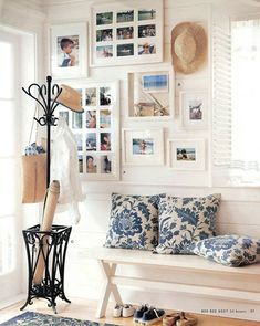 Entryway - paint door frames white. Note white window shudder, similar to entryway closet doors.