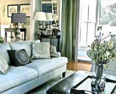 living rooms - Benjamin Moore - Quiet Moments - modern blue green black white stripe greek key panels curtains leather ottoman linen transitional