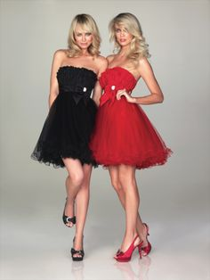 (FITS036091 )2011 Style A-line Strapless Bowknot Sleeveless Short / Mini  Organza Black Cocktail Dress / Homecoming Dress