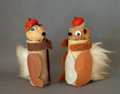 Cardboard Tube Squirrel Turn a cardboard tube walnut and acorn cap into these cute squirrels. A perfect recycling craft for fall that the kids will love. The post Cardboard Tube Squirrel was featured on Fun Family Crafts. Paper Towel Crafts, Toilet Paper Roll Crafts, Toddler Crafts, Preschool Crafts, Crafts For Kids, Fall Preschool, Fall Art Projects, Craft Projects, Cute Squirrel