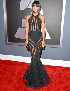 Kelly Rowland wore a daring Georges Chakra dress to the 2013 Grammys. Doesn't she look amazing?