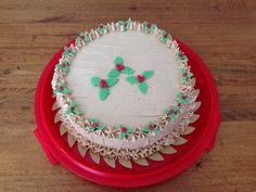Christmas holly mocha cake