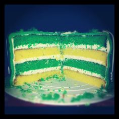 Green Bay Packers cake - yellow cake with white cake dyed green. White cake can be useful!