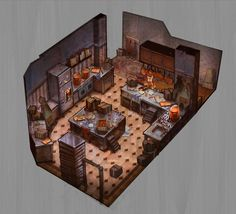 Ratatouille kitchen Disney Concept Art, Game Concept Art, Ratatouille Disney, Disney Movie Scenes, Kitchen Games, Anime Places, Kitchen Drawing, Game Assets, Disney Home