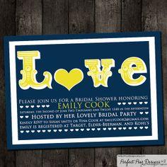 Bridal Shower Invitation, Nautical Navy Blue, Yellow - New Baby, Engagement, Birthday, Customize any color theme Digital DIY Printable on Etsy, $15.00