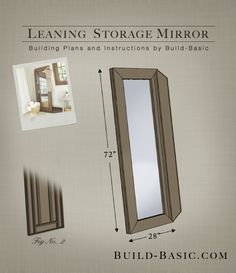 Build a Leaning Storage Mirror - Building Plans by @BuildBasic www.build-basic.com The frame opens up to jewelry storage
