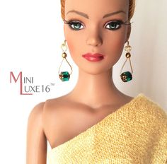 Doll Jewelry - Green Czech Glass Doll Earrings for Tonner, FR16 and other 16 inch dolls by MiniLuxeCollection, $12.00