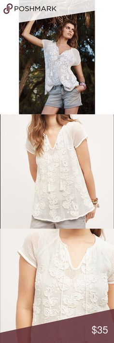 Akemi + Kin Ivory Mesh Top I have worn this once- it's in great condition!  Beautiful mesh top with crochet detailing.  Perfect for summer!  From Anthro's website: Cotton mesh Pullover styling Hand wash Imported ***first 3 photos are Anthropologie's product photos Anthropologie Tops