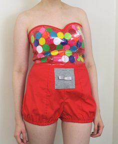 SAMPLE SALE / Gumball Machine Romper Costume / Womens Halloween Costume  / Halloween 2012 / Free Shipping in the US / Medium M. $135.00, via Etsy.