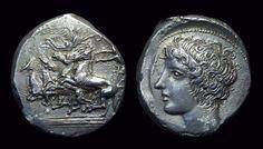 Head Of Arethusa Right Energetic Sicily.syracuse.tetradrachm 478-413 Bc